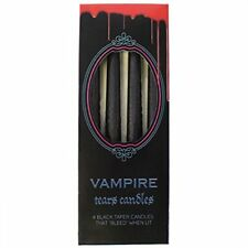 4 X Vampire Tears Black Candles Weeps Blood Red Wax Gothic Halloween Decoration
