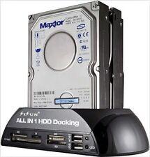 "Hard Drive Docking Station 2.5"" / 3.5"" IDE SATA HDD w/ Card Reader Hub Black New"