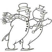 Woodware Clear Singles Magic Stamp Christmas 2017 - Skating Snowmen JGS109