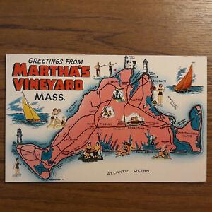 Postcard MAP Greetings From Martha's Vineyard Mass USA map Postcard.