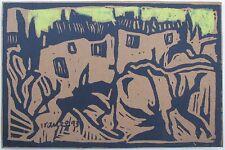 "VERONICA FRANCA SPANISH LINOCUT ""IRAN BUILDING IN MOUNTAINS"" 1968"