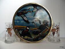 Vintage Ken Haag Metal Tray Ducks Canadian Geese Glass Mugs Steins Hunt Man Cave