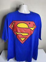 Vintage 1997 Superman Big Logo T Shirt Men's Size 2XL XXL Blue Single Stitch