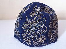 Antiguo Inglés azules bordadas Fieltro Victoriano Cap Forro De Seda C 1850