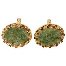 Vintage Christian Dior Spinach Jade Gold Toned Cufflinks