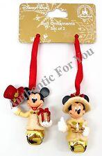 NEW Disney Parks Victorian Minnie Mickey Jingle Bell Set of 2 Christmas Ornament