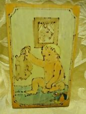 Vintage Dibble Studios Pyrography Folk Art Baby with Teddy Bear Harry Ungar L.A.