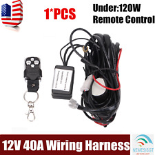 Remote Control Wiring Harness Kit Switch Relay LED Work Light Bar Fuse 12V 40A
