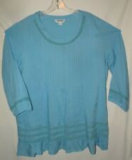 NWOT Perfect Pale Blue Party Top Lace 100% Ruffles Rayon Plus Size L 1X 16 18