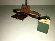 Vintage Doll Miniature Lot Leather School Book Bag w. Plain Pages Opening Book