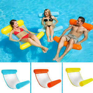 Portable Swimming Pool Toy Hammock Lounge Inflatable Floating Bed Chair Yellow