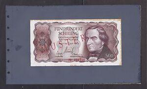 Austria p-139 , 500 Schillings , 1965 , SPECIMEN !! , In Original Bank Card!