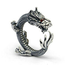 925 Sterling Silver Mens Vintage Carved 3D Dragon Wrap Open Adjustable Ring