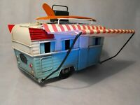TINPLATE RETRO MODEL CARAVAN  SHABBY CHIC VINTAGE CAMPER AND AWNING SURF BOARD
