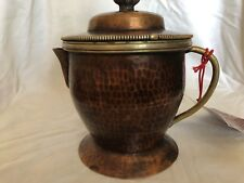 """Antique hand made copper tea searving cup 7""""X5"""" depth 4"""" with silver"""