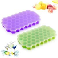 Silicone Ice Cube Tray BPA Free Honeycomb 37 Cubes Ice Cube Maker Mold With Lids