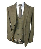 Men's Ascari Brown Double Breasted Waistcoat Tweed Check Peaky Blinders Suit