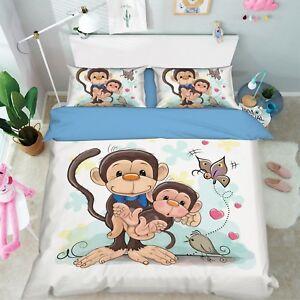 3D Cartoon Monkey 68 Bed Pillowcases Quilt Duvet Cover Set Single King UK Summer