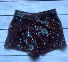 Topshop Petite Burgundy Red Blue Floral Turn Up Shorts 8 - B22
