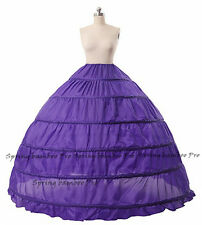 Retro 6 Hoop Petticoat Underskirt Long Bridal Crinoline Lady Wedding Skirt Slip