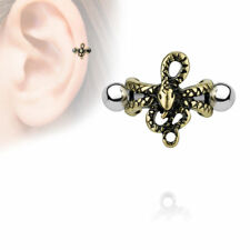 helix tragus piercing snake gold plated Antique Style Shield 1,2 x 6 mm