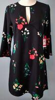 Vince Camuto Womens Size 6 Black Floral Print Keyhole Dress Kimono NWT