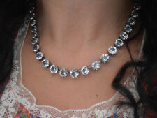 Swarovski Necklace Crystal Clear Antique Silver Tennis Choker 8mm Cupchain