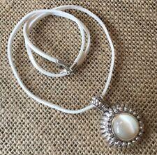 Retro Boho Roman Silver Moon stone Pendant white Leather Necklace