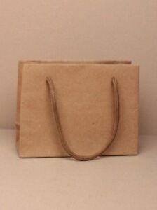 12 x  Brown Natural Kraft Paper Gift Bags with Corded Handles  H11xW14.5xD6cm