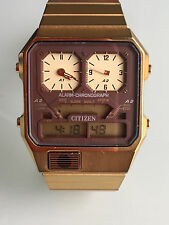 Rare Vintage 1980's Mens Citizen Analogue Digital Alarm Chronograph Wristwatch