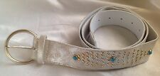 Women's Washed Silver Studded Belt Size XL - New