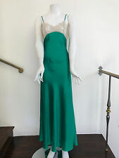 Bias cut emerald green neglige with beige lace bodice