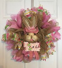 """21"""" Handmade Easter Deco Mesh Bunny Head Wreath With Happy Easter Sign - Pink"""