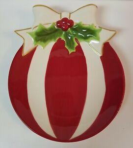 Christmas deco St. Nicholas Square Holly Jolly Ornament Ceramic Dish Candy Fudge