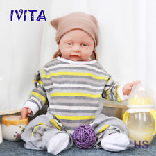 IVITA 18'' Silicone Reborn Baby Boy 3800g Can Take Pacifier in Mouth Cute Doll