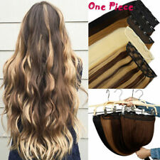 Thick Full Long Straight 3/4 Full Head One Piece 5 Clip in Human Hair Extension