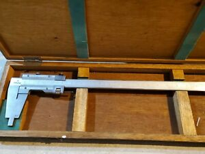 """Mitutoyo Vernier Caliper 0-24"""" Stainless Steel With Wood Case"""