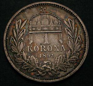 HUNGARY 1 Korona 1892 - Silver - Franz Joseph I. - F - 2010
