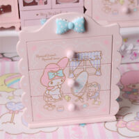 New Kawaii Sanrio My Melody Wood Desktop Jewelry Box 3 Layers Drawers Cabinet
