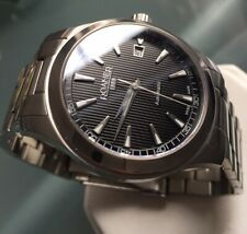 Mens Roamer Genuine Automatic Swiss Sapphire Black Pinstripe 950660 Clear Back