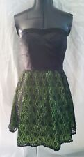 Sexy Alyn Paige Strapless Padded Bra Green Black Floral Lace Fun Party Dress 7/8