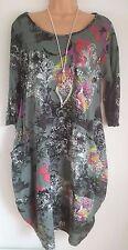 New Italian Lagenlook Khaki Oriental Print Tunic Top Size uk 12 14 16 18