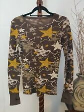 Arizona womens L thermal shirt multi browns/yellow LS scoop neck EUC
