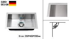 250mm Kitchen Sink Square Edge Handmade 304 Stainless Steel Undermount Topmount