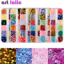 Nail Art Sequins Boat Flower Heart Star DIY Hollow Shape Glitter Tips Decoration