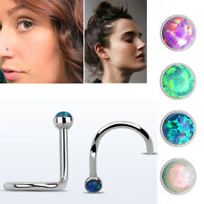 20g 1.5mm Prong Stone Steel Synthetic Opal Silver Nose Screw Stud Piercing 1-4PC