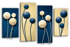 """Floral Wall Art Blue Cream Grey Flower Print 4 Panel Canvas Abstract 44 X 27"""""""