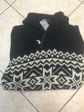 Polo Ralph Lauren Mens Nordic Pattern 1/2 Zip Sweater Black/Cream S NWT $265