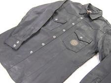 mens harley davidson leather shirt jacket L xl large black embroidered snap up