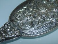 Vintage Small Silver Tone Metal Highly Ornate Hand Held Mirror Collectible 5""